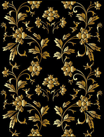 Seamless vector golden floral pattern