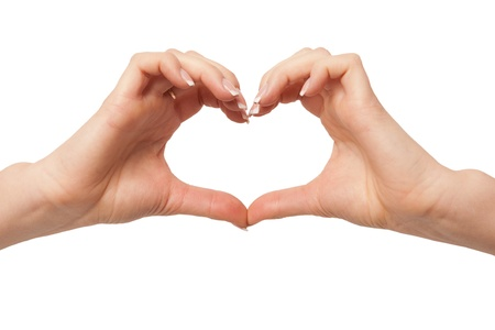 Heart in hand on white background  hand gesture, sign on white