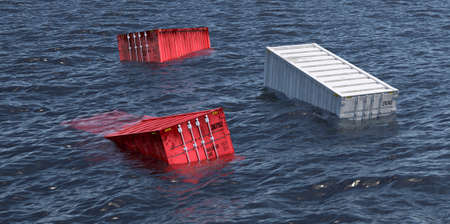 Photo pour shipping containers lost at sea - 3D Rendering - image libre de droit