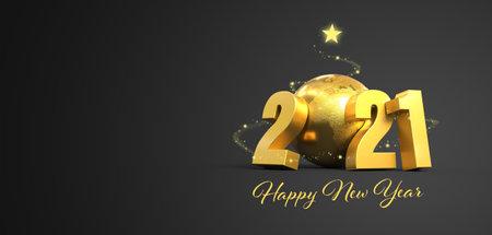 Foto de 2021 greetings card background gray and gold - 3D rendering - Imagen libre de derechos
