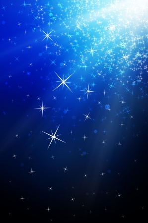snowflakes and stars descending, blue light