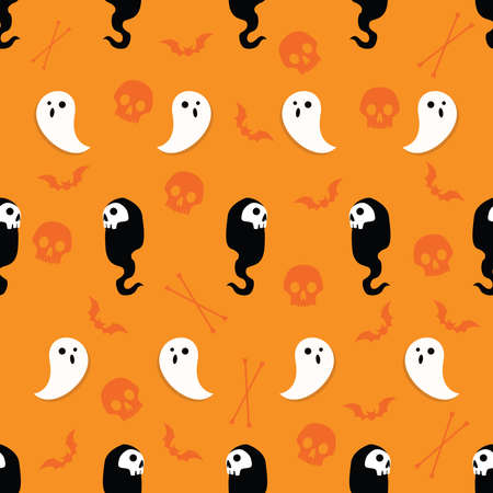 Illustration pour Abstract seamless halloween pattern for girls or boys. Creative vector background with ghosts, bats, skulls and bones. Funny pattern for textile and fabric. Vector fashion halloween theme. Colorful bright illustration - image libre de droit