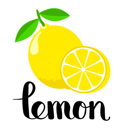 Lemon and a half with handwritten inscription. Flat style editable vector illustration. Letter L kids learning card.