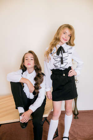 Photo pour Two cute girls schoolgirls with long curly hair in fashionable school clothes. School fashion in vintage elite style. - image libre de droit
