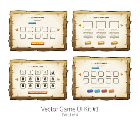 Vector graphical user interface UI GUI kit for 2d video