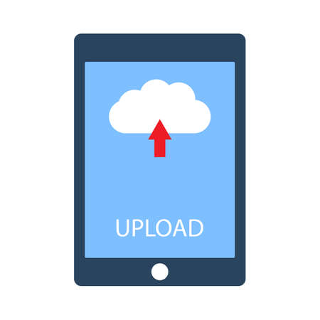 Tablet with upload button on screen. Flat style vector illustration