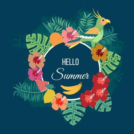 Illustration pour Floral summer background with tropical leaves and parrot. Vector illustration - image libre de droit