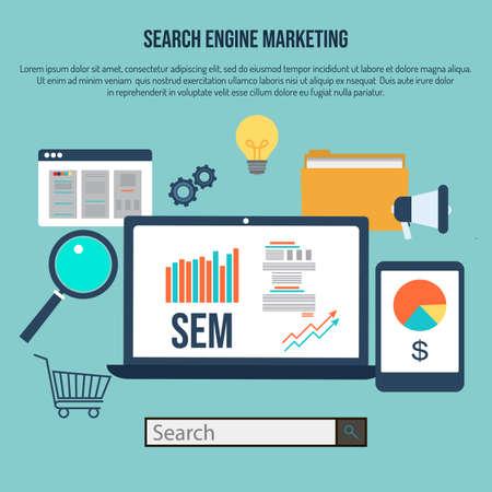 Illustration pour Search engine marketing, flat style design concept. Vector illustration - image libre de droit