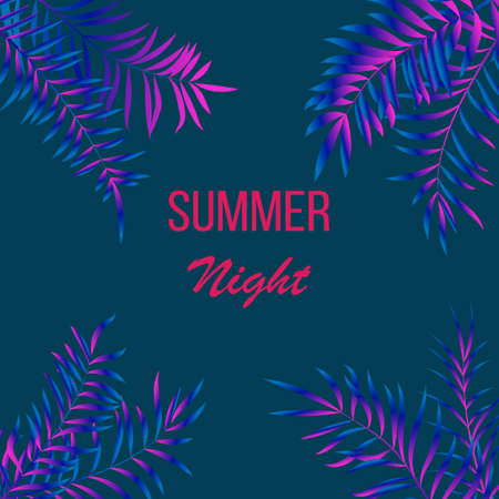 Illustration for Summer night tropical design with palm leaves - Royalty Free Image