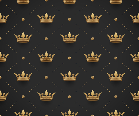 Seamless gold pattern with king crowns on a dark black background.