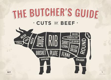 Ilustración de Cut of beef set. Poster Butcher diagram and scheme - Cow. Vintage typographic hand-drawn. Vector illustration - Imagen libre de derechos