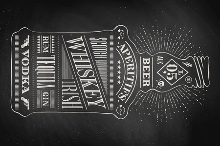 Illustration pour Poster bottle of alcohol with hand drawn lettering. Drawing for pub, bar menu, alcohol card, t-shirt print, alcohol themes. Isolated bottle of alcohol wih lettering on chalkboard. Vector Illustration - image libre de droit