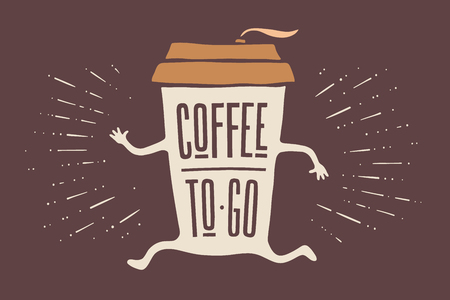 Ilustración de Poster take out coffee cup with hand drawn lettering Coffee To Go for cafe and coffee take away. Colorful vintage drawing for drink and beverage menu or cafe theme. Vector Illustration - Imagen libre de derechos