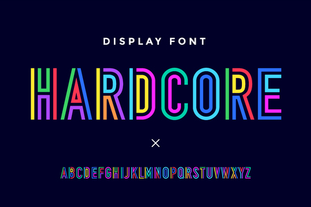 Illustration pour Line condensed alphabet and font. Colorful uppercase outline letters. Type, typography letter line font in coloured rainbow style. Hand-drawn modern narrow sans serif line font for headline. Vector Illustration - image libre de droit