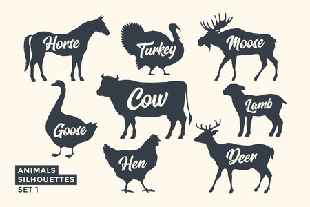 Illustration pour Animals silhouette set. Black-white silhouette of animals with lettering names. Design template for grocery, butchery, packaging, meat store. Farm and wild animals theme. Vector Illustration - image libre de droit