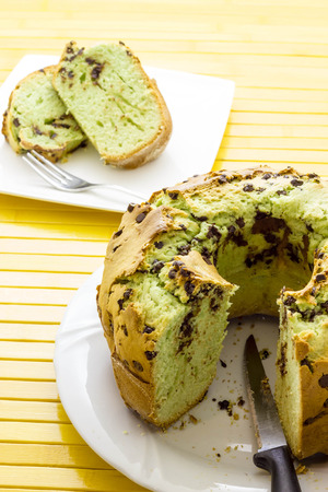 Donut with mint and drops of chocolate