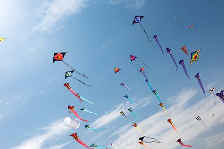 Photo for Kites with blue sky and white clouds - Royalty Free Image