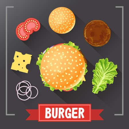 Burger ingredients. Burger parts on chalkboard. Burger with signed ingredients. Set food burger. Original burger recipe. .