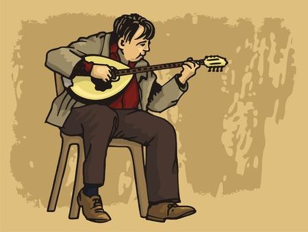 Middle aged man playing bouzouki on grunge background
