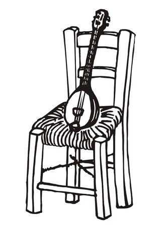Baglamas resting on chair marker sketch