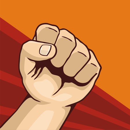 Illustration of fist line-art on dark red and orange background