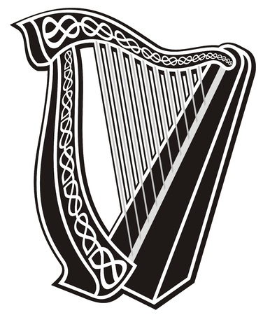 Black and white harp icon with Celtic knot decoration.