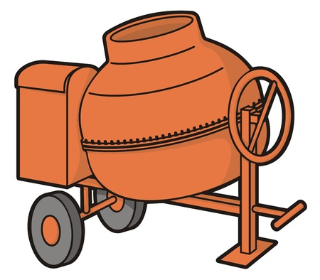 Orange mini concrete mixer with wheels illustration isolated on white background.