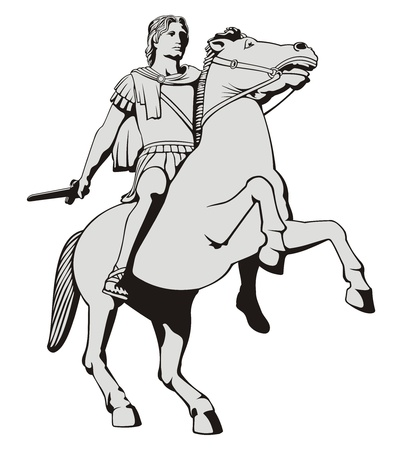 Illustration of Alexander the Great riding his horse statue  at Thessaloniki Greece.
