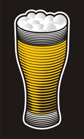 Beer pint illustration with woodcut shading on black background.