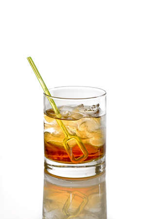 Photo pour Godfather Cocktail with ice cubes in whiskey glass isolated on white - image libre de droit