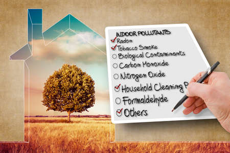Photo for Hand write a check list of the most common dangerous domestic pollutants we can find in our homes - concept image - Royalty Free Image