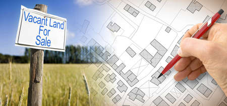 Photo for Advertising metal signboard in a rural scene with Vacant Land for Sale written on it and an imaginary cadastral map of territory with buildings, fields and roads against a green area. - Royalty Free Image