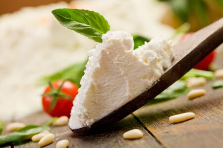 Various ingredients for homemade italian ravioli with ricotta cheese