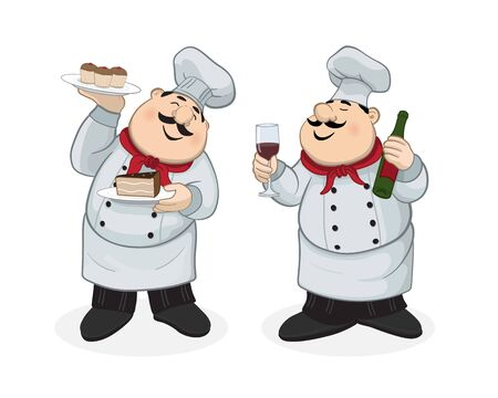Illustration for Chef with dessert and chef with red wine - Royalty Free Image