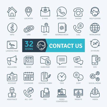 Illustration pour Contact Us Icons Set. Thin line icons set. Outline icons collection. Simple vector icons - image libre de droit