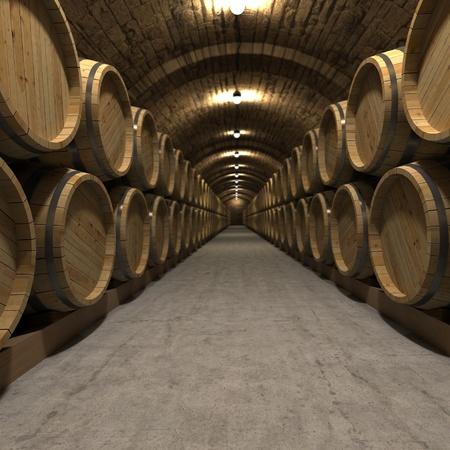 3D rendering of a wine cellar