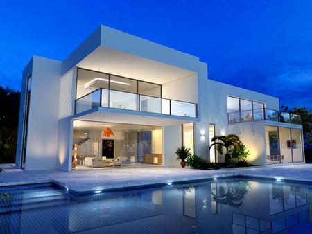 Photo pour luxurious villa with swimming pool at dusk - image libre de droit