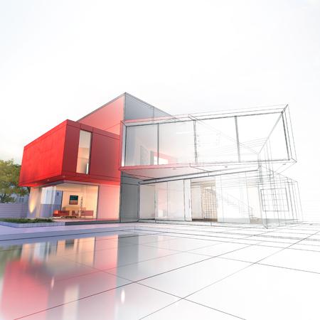 Photo pour Impressive modern house with pool architecture project - image libre de droit