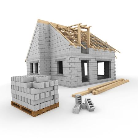 Photo pour A house under construction, with construction blocks and beams - image libre de droit