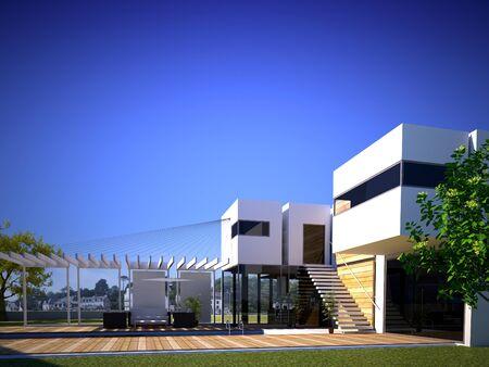 Foto de 3D rendering of a  modern building exterior with pool - Imagen libre de derechos