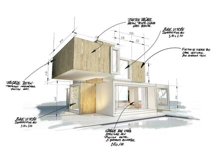 Photo pour 3D rendering of a modern cubic house with notes, measurements and indications - image libre de droit