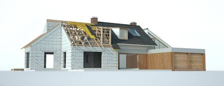 Photo for 3D rendering of a house under construction showing all different layers and materials - Royalty Free Image