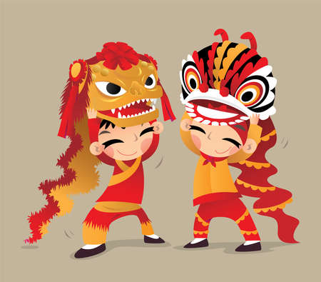 Illustration for Two Chinese kids playing the Northern and the Southern Lion Dances - Royalty Free Image