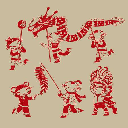 Chinese Paper Cutting Art Kids Playing Dragon Dance Lion