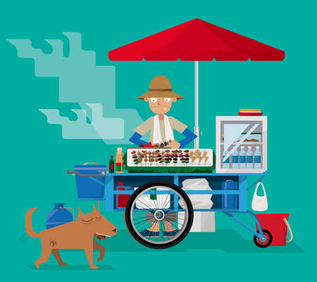 Illustration pour Street food vendor in Thailand vector illustration. - image libre de droit