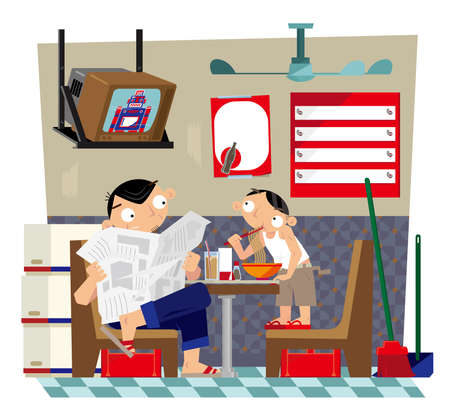 Illustration for Vector illustration of a father and a son taking meal inside a small local Hong Kong-styled cafe - Royalty Free Image