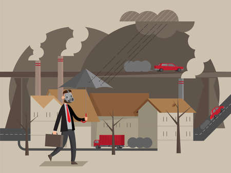 Illustration pour Illustration of a man wears mask to pass through an area in heavy air pollution - image libre de droit