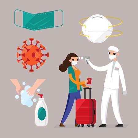 Illustration pour Illustration of Coronavirus protective measures and items - image libre de droit