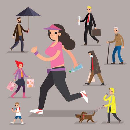 Illustration pour A set of graphic people of pedestrians - image libre de droit