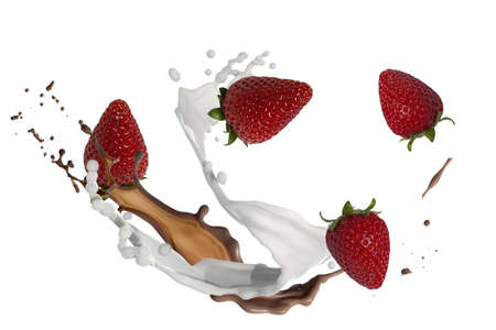 Photo for strawberries with milk and chocolate splash - Royalty Free Image
